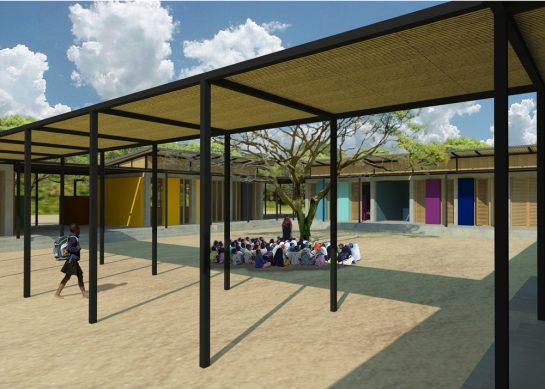 GCB model school design by LOM showing quad and canopy
